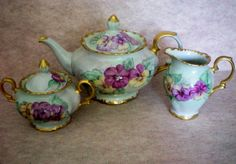 Bareuther Bavarian Tea / Coffee Set with Hand Painted Pansies