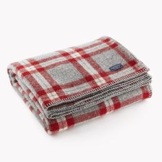 Soho Wool Throw - Gray/Red Plaid