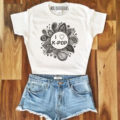 I Love K-Pop Zentangle White T-Shirt ($20) ❤ liked on Polyvore featuring tops, t-shirts, silver, women's clothing, white tee, i love t shirts, i heart shirts, white t shirt and tee-shirt