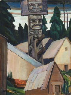 Emily Carr: Skidegate, Oil on canvas. Collection of the Vancouver Art Gallery, Emily Carr Trust. Tom Thomson, Canadian Painters, Canadian Artists, Native Art, Native American Art, Native Indian, Indian Art, Emily Carr Paintings, Small Paintings