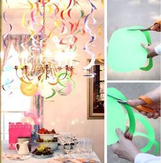 Curly hanging ribbons - so easy! You could 'zhoozh' them with putting sparkle on them too.
