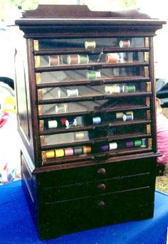 Walnut Spool Cabinet, 8 Glass Front Drawers and 3 Wood, BRASS LANTERN ANTIQUES