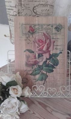 Shabby-Chic-French-postcard-themed-solid-wood-24x35cms-chopping-board