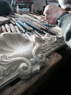 Hand carved shell arches for Boiserie dining room. Designed, manufactured & hand carved by Auffrance.