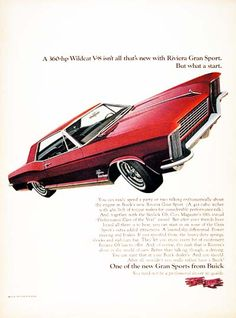 1965 Buick Riviera Gran Sport original vintage advertisement. Equipped with a 425 cu.in. power plant.