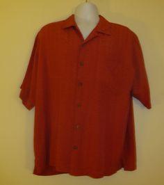 TOMMY BAHAMA Men's shirt 100% Silk Large Short Sleeve L Button Down Design EUC!!  $28.99