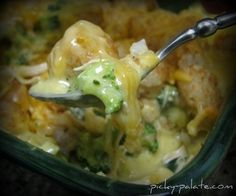 Broccoli, Cheddar, Chicken and Tater Tot Casserole-- Awesome!