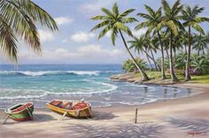 Shukqueen Diy Oil Painting, Adult's Paint by Number Kits, Acrylic Painting-Sunny Beach Inch (Frameless) Seascape Paintings, Oil Painting On Canvas, Diy Painting, Landscape Paintings, Canvas Art, Canvas Size, Beach Canvas Paintings, Painting Classes, Diy Canvas