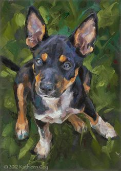 Original Oil Painting by Kathleen Coy. Rescue puppy 50% to charity. $275
