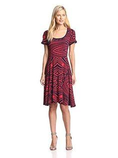 Melissa Masse Plus Women's Contrast Trim Fit & Flare Dress (Navy/Cherry)