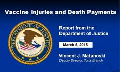 The Depart of Justice issues a report on vaccine injuries and deaths every quarter to the Advisory Commission on Childhood Vaccines. The March 5, 2015 report states that there were 117 cases for vaccine injuries and deaths compensated from 11/16/2014 to 2/15/2015.