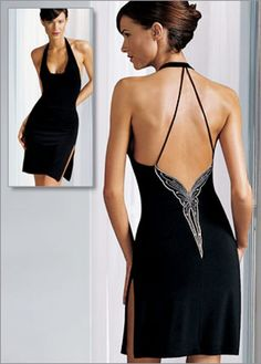 "My favorite ""little black dress"". I wear it for special occasions, so perfect.  The butterfly back is so classy!"