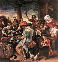 Jan Steen (Dutch artist, 1626-1679) Celebrating on a Garden Terrace