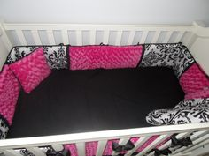 Hot pink looks so chic with black and white #damask!  #hotpink #nursery #blackandwhite