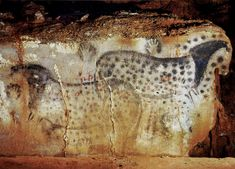 the horses of Peche MerlePech Merle is a cave in the Lot departement of the Midi-Pyrenees region in France. The cave walls are decorated with paintings and engravings, from the Gravettian culture some 25,000 BC, through the Solutrean roughly 18,000 BC, to the Magdalenian era, about 15,000 BC. The prehistoric art was discovered as recently as 1922.
