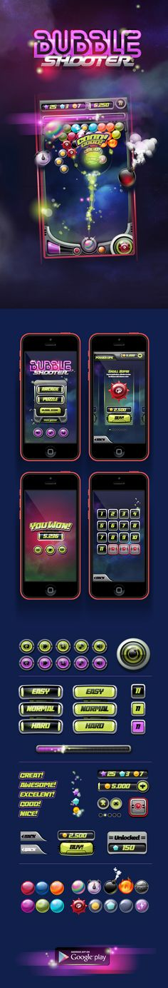 by Gabriel Mourelle on http://www.behance.net/gallery/Bubble-Shooter-Mobile-Game/11568209