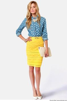 Dynamic look with a Yellow Pencil Skirts..  Find more Collection