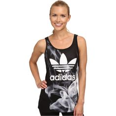adidas Originals White Smoke Layer Tank Women's Sleeveless, Black (€35) ❤ liked on Polyvore featuring tops, black, layering tank tops, sleeveless tank tops, white tank, black tank and sleeveless tops