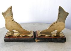 BRASS BOOTS BOOKENDS on Mahogany Platform Ladies Button Up Boots Shoes Victorian Fashion Antique Shoes English or American 1800's by OnceUpnTym on Etsy