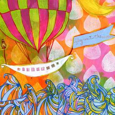 Fly Me to the Moon by Jessica Swift Painting Print on Wrapped Canvas