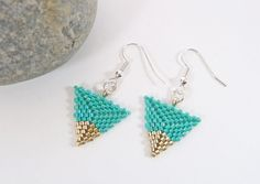 Turquoise & Silver Triangle Earrings by BeauBellaJewellery on Etsy #ontrend #geometric #accessories