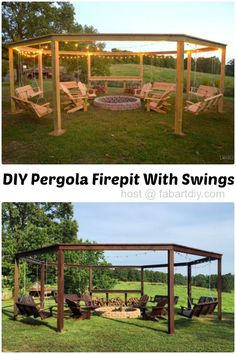 #woodworkingplans #woodworking #woodworkingprojects DIY Pergola Firepit with Swings with movie screen, perfect for summer party #Outdoor, #Woodworking, #Furniture