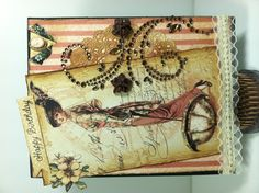 Birthday card using Graphic 45 ladies diary collection.  Recollection bling