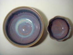 Two Ceramic Hand Painted and Signed American Glazed Pottery Bowls