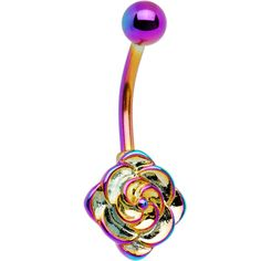 Rainbow Electro Titanium Flower Bloom Belly Ring - New Ideas Belly Button Piercing Jewelry, Bellybutton Piercings, Piercing Ring, Cute Piercings, Piercing Ideas, Body Peircings, Cute Belly Rings, Belly Button Rings, Industrial Piercing Jewelry