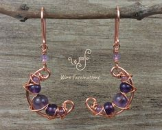 Wire wrapped earrings 277534395773758431 - These handmade earrings are copper crescent moons wire wrapped with amethyst beads in a beautiful criss cross pattern dangling from an amethyst beaded link. Wire Jewelry Designs, Diy Jewelry, Beaded Jewelry, Jewelry Making, Jewelry Trends, Diamond Jewelry, Jewelery, Fashion Jewelry, Amethyst Earrings