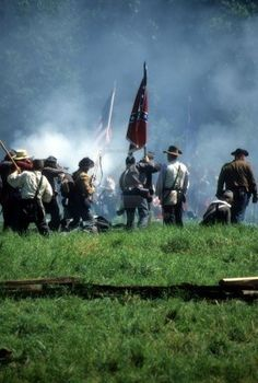 Confederates defend the flag, Civil War battle reenactment  Stock Photo - 1930874