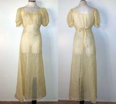 Note peasant look sleeve & bodice, ties in back. Windowpane silk chiffon ALady. . 30s dress / vintage 1930s yellow georgette by pinkvintageboudoir, $66.00