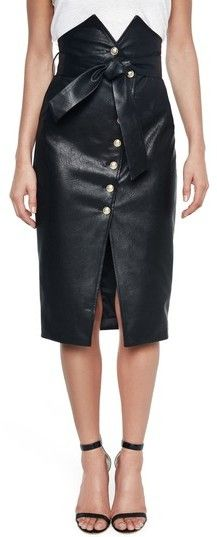Women's Bardot Faux Leather Pencil Skirt