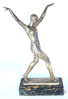 French Art Deco Figural Female Statue  Sculptor: Pierre Le Faguays for Max LeVerrier  Circa 1920's, France