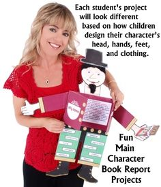 For Common Core Character Analysis? Fun Main Character Book Report Project Ideas for Elementary School Students and Teachers Book Report Projects, Reading Projects, Reading Resources, Book Projects, Reading Skills, Teaching Reading, Project Ideas, Learning, The Body Book