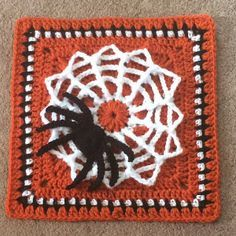 """Tangled Web / Spider Web 12"""" Afghan Square - free crochet pattern by Julie Yeager."""
