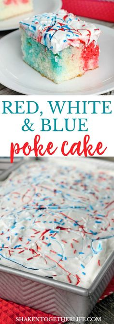With dazzling pops of red and blue cake tucked under a layer of colorful whipped topping and sprinkles, this Red, White & Blue Poke Cake is an easy patriotic dessert that will be the star of the 4th of July!