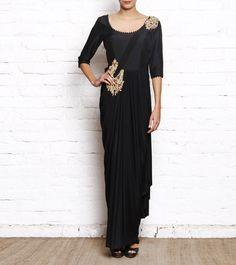 #Black & #Golden Embellished Silk & Lycra Drape #Saree #Gown by #Arun N #Varun at #Indianroots