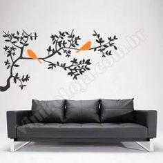 Adesivo decorativos de parede Galho e Pássaro PG-151. Reinvente seu ambiente com este adesivo decorativo, todos nossos adesivos são recortados eletronicamente em vinil de alta qualidade