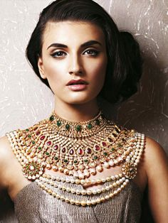 Love this look - Vogue India - November 2013 - Indian bride - Indian bridal jewelry - Indian bridal jewellery - kundan jewellery - stone jewellery - antique jewellery - pearl jewellery #thecrimsonbride