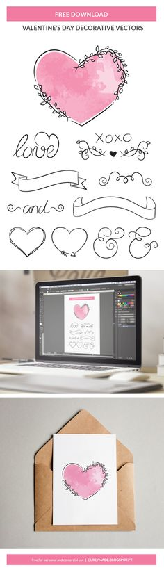 Free Download | Valentines Day Hand Drawn Vector Decorative Heart Ilustrations | Curly Made