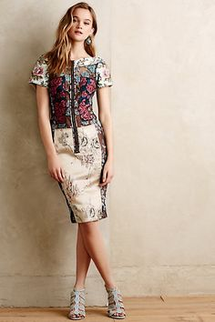 LOVE the fabric, the piecing, but doubt it would go over my hips  Brocade Dress #anthropologie