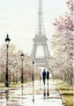 One day in Paris. One day in Paris. Paris Torre Eiffel, Paris Eiffel Tower, One Day In Paris, I Love Paris, Eiffel Tower Painting, Paris Wallpaper, Paris Painting, Beautiful Paris, Painting People