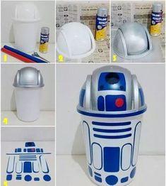 Ideia sensacional R2-D2 (Os adesivos podem ser recortes de papel contact)