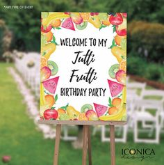 Tutti Frutti Party Welcome Sign, Two-tti Frutti Party Decor, Fruits Party Birthday Sign, Text in any Color,Printed Or Printable File - finja 2nd Birthday Party For Girl, Fruit Birthday, Baby Party, Birthday Signs, Deco Fruit, Fruit Party, Tutti Frutti, Party Items, Birthday Party Decorations