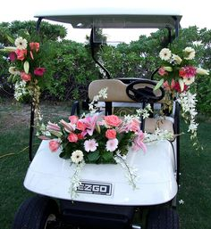 Wedding style golf cart - Perfect for an island style wedding on Put-in-Bay, Ohio.