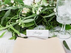 #place-settings, #calligraphy, #escort-cards  Photography: Lauren Fair Photography - www.laurenfairphotography.com  Read More: http://www.stylemepretty.com/2014/08/28/simply-romantic-summer-backyard-wedding/