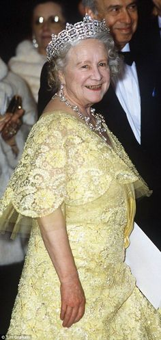 The Queen Mother at the Royal Opera House in 1986 to celebrate the Queen's birthday...