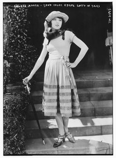 "The movie star Colleen Moore was the first actress to cut her hair short and dress in the style of a ""flapper"""