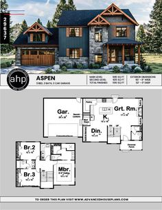 Modern Mountain 3 bedroom 2 story house plan - House Plans, Home Plan Designs, Floor Plans and Blueprints House Plans 2 Story, Sims House Plans, Family House Plans, 2 Story Houses, Craftsman House Plans, Dream House Plans, Modern House Plans, Small House Plans, Modern House Design